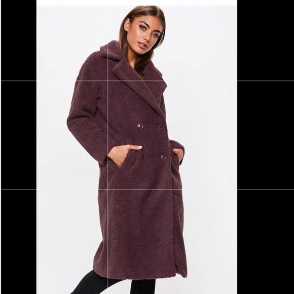 ddf66785f NWT Missguided Longline Borg Teddy Coat Petite S 6 NWT